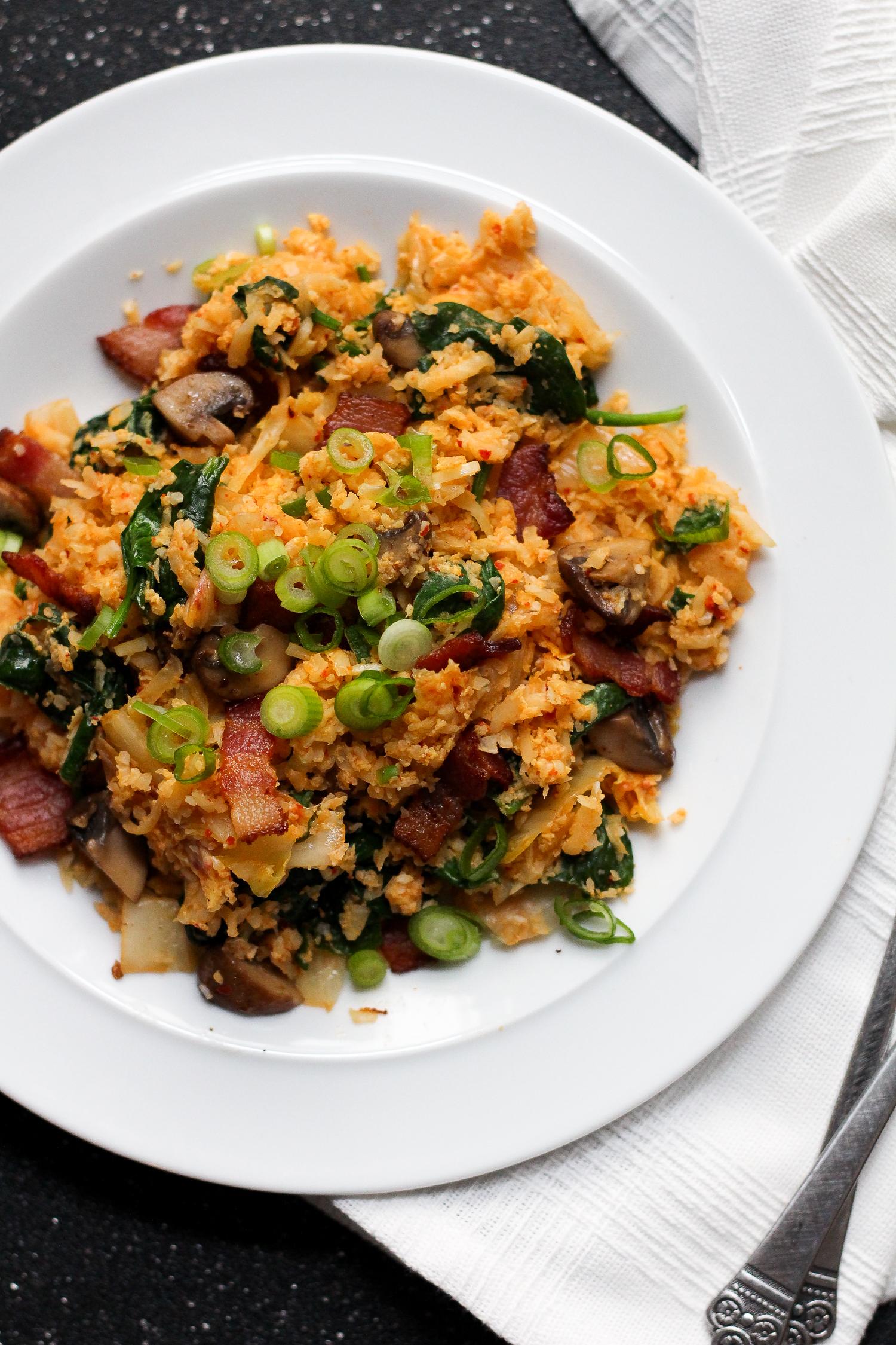 Paleo Kimchi-Bacon Fried Cauliflower Rice