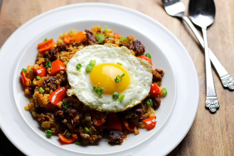 Paleo Chorizo Cauliflower Fried Rice by Worthy Pause