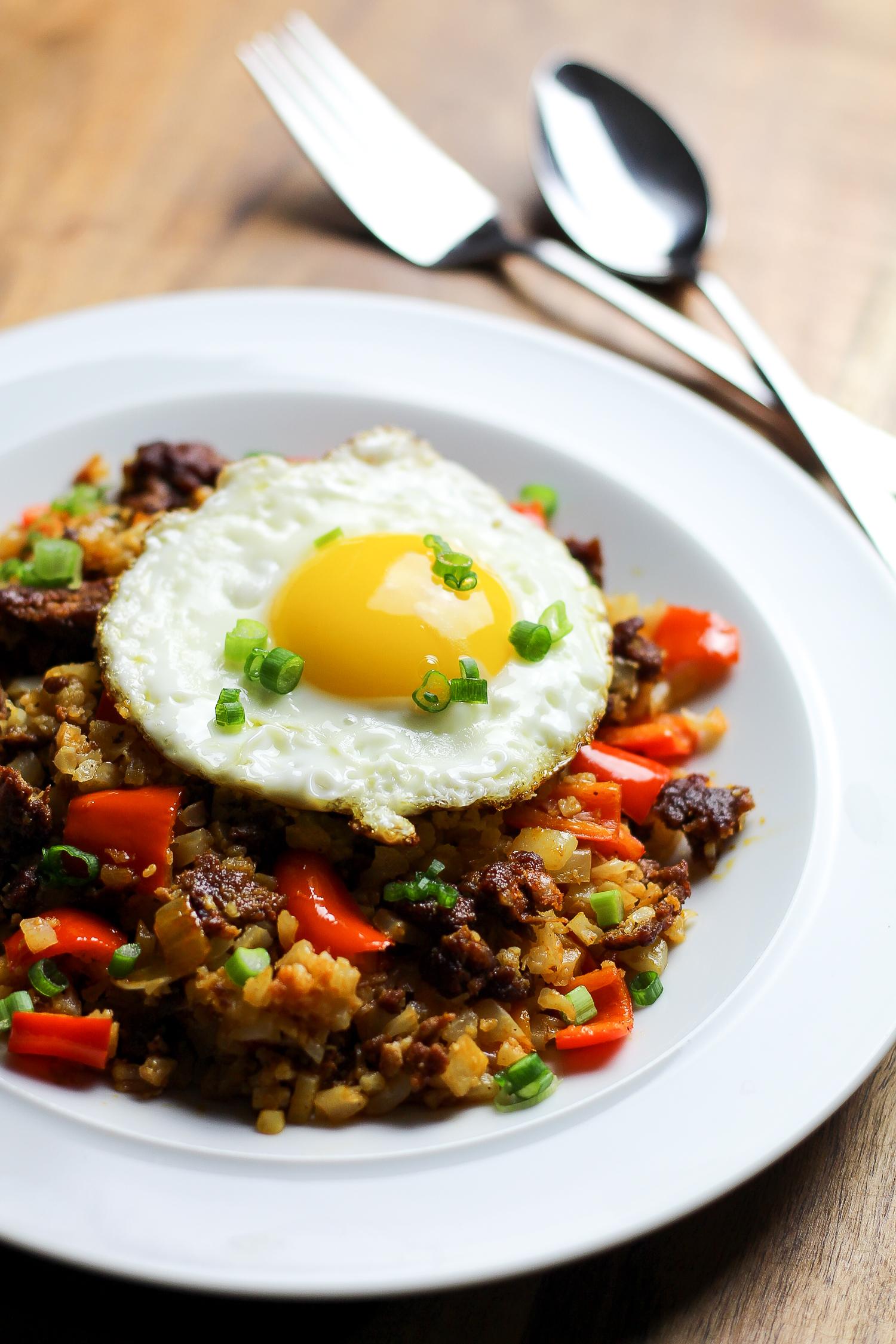 Paleo Chorizo Cauliflower Fried Rice Recipe via Worthy Pause