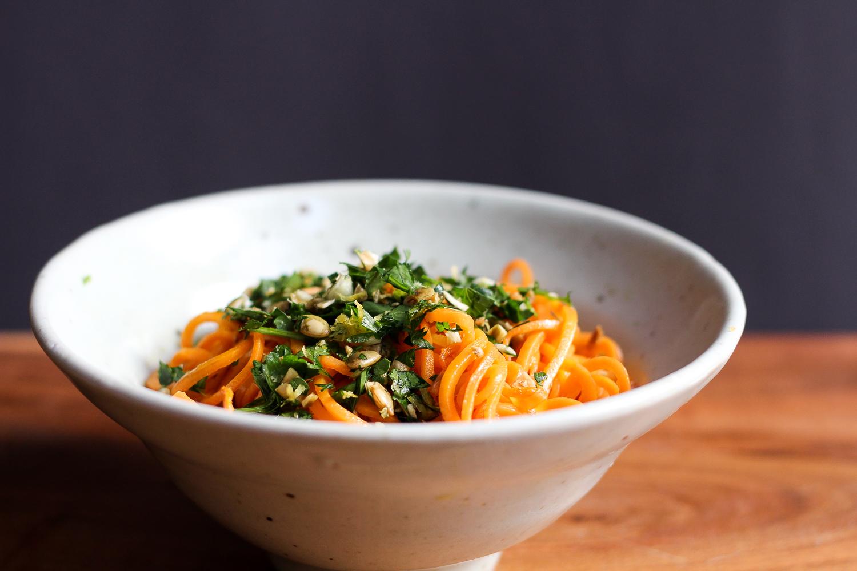 Paleo Sweet Potato Noodles with Spicy Pepita Gremolata Recipe via Worthy Pause