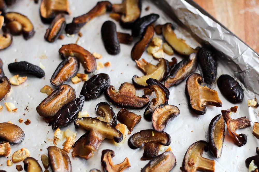 Garlicky Roasted Shiitake Mushrooms Recipe via Worthy Pause
