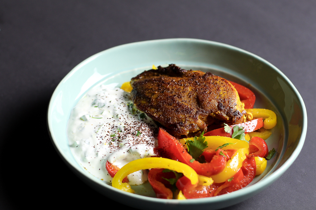 Shawarma-Spiced Chicken with Peppers Recipe via Worthy Pause