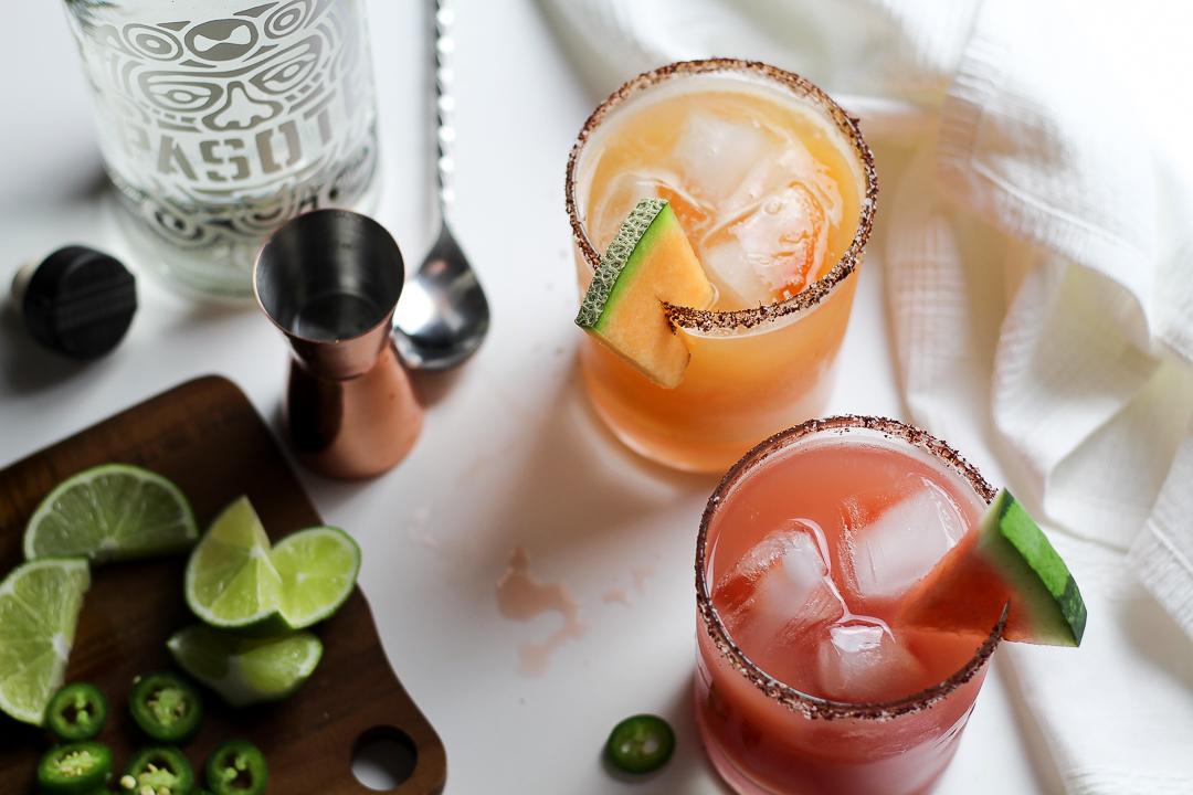 Salty Ancho-Chile Watermelon + Cantaloupe Margarita Recipe via Worthy Pause