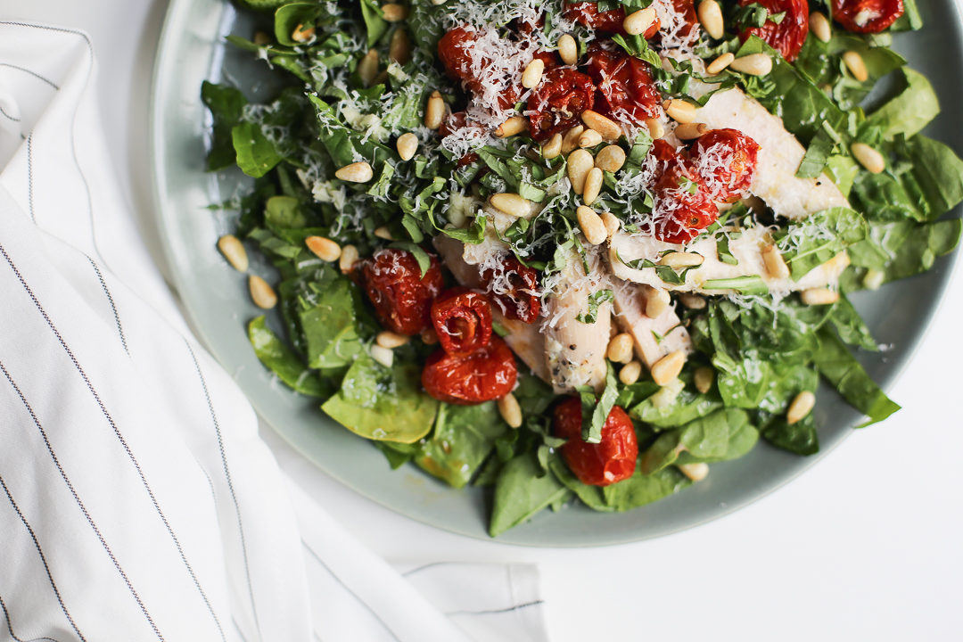 Deconstructed Pesto Spinach Salad with Chicken Recipe via Worthy Pause
