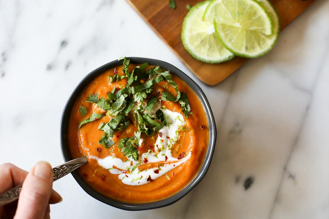 Paleo Thai Curry Carrot Soup Recipe via Worthy Pause