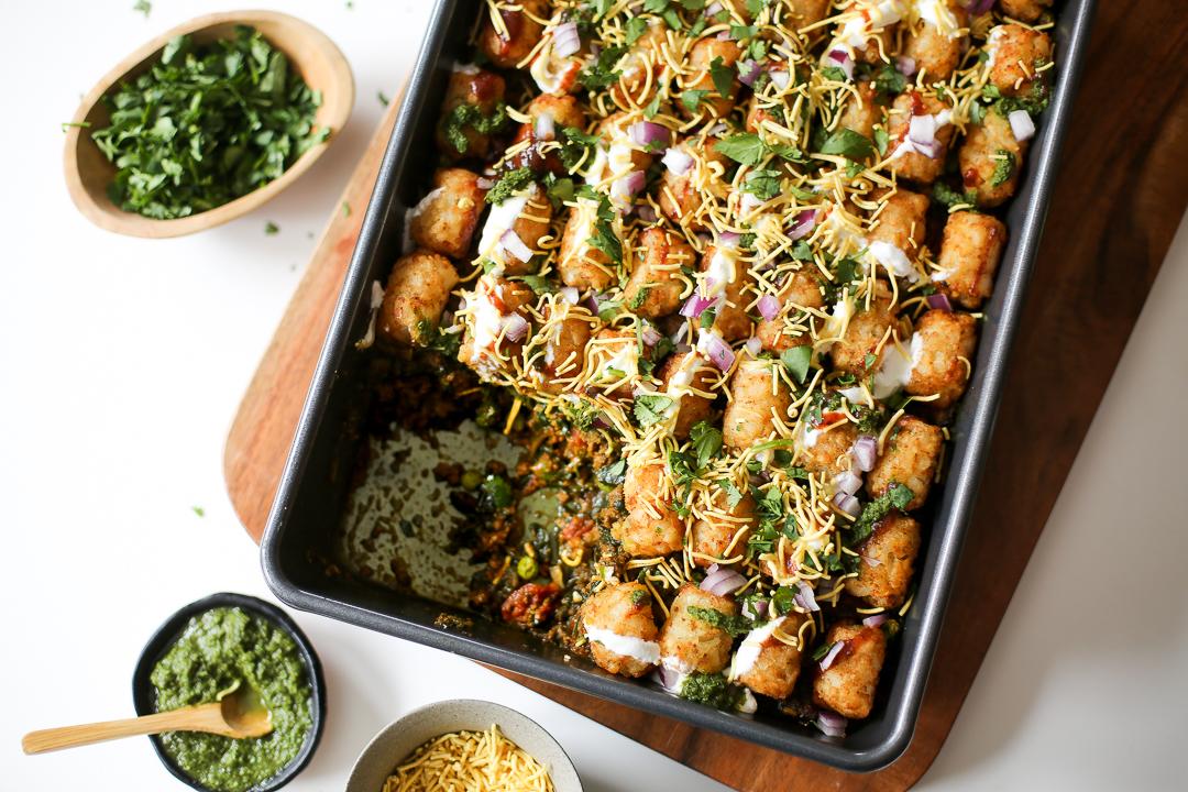 Samosa Chaatdish (Samosa Tater Tot Hotdish Recipe) via Worthy Pause