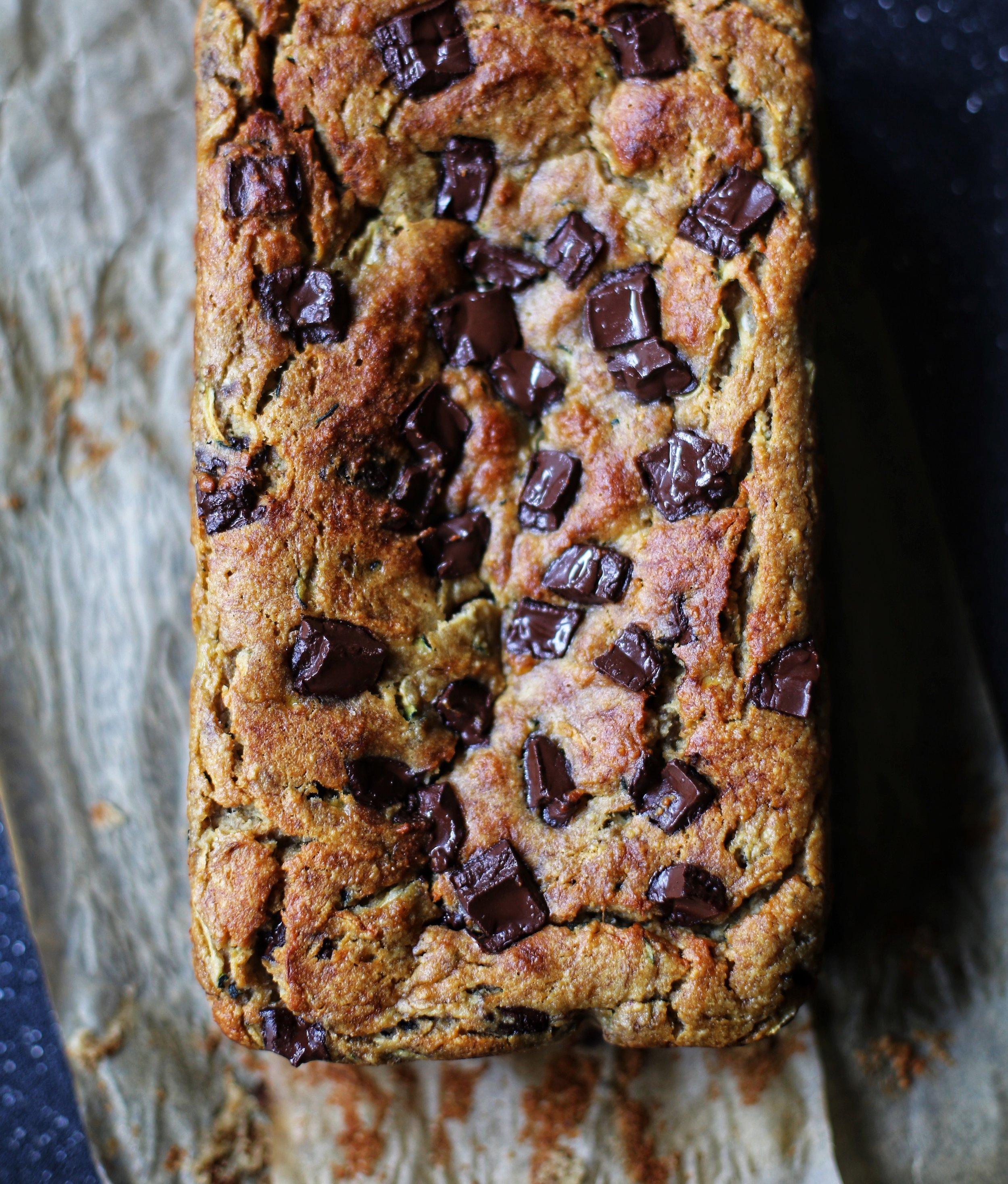 Paleo Chocolate Chip Zucchini Bread Recipe via Worthy Pause