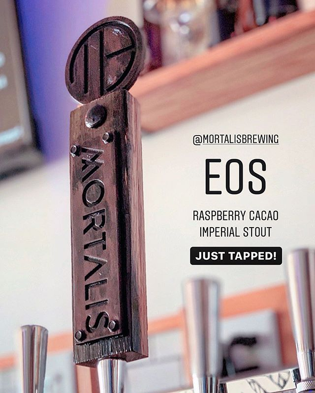 Fresh Beer! @mortalisbrewing EOS - a decadent Imperial Stout with Dominican cacao nibs, raspberry purée & preserves. Dessert is served 🤤