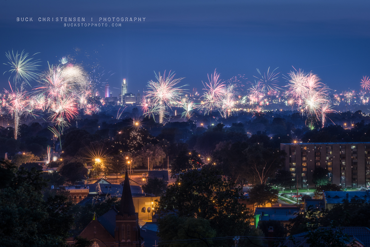 Fireworks over Council Bluffs, Iowa, and Omaha, Nebraska on the Fourth of July (Independence Day).
