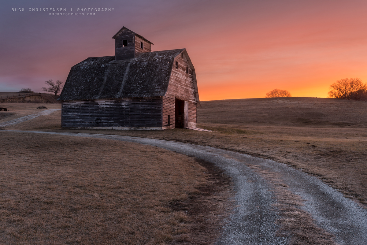 Barn at sunrise in Council Bluffs, Iowa.