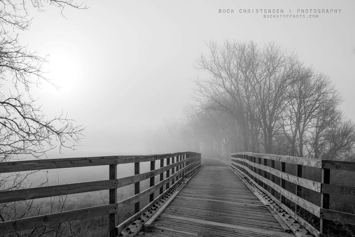 Bridge along Wabash Trace Nature Trail in the fog, Mineola, Iowa.