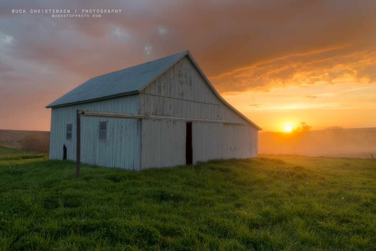Machine shed at sunrise in rural Iowa.