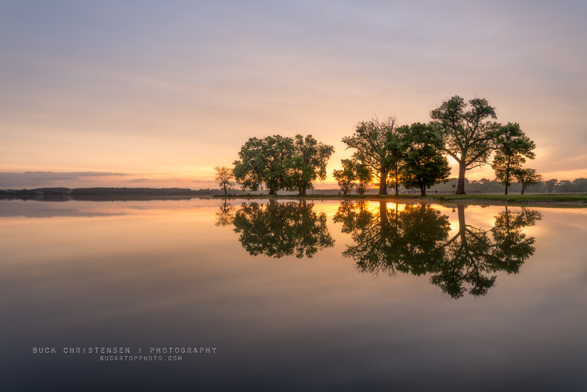 Boy Scout Island at sunrise, Lake Manawa State Park, Council Bluffs, Iowa.