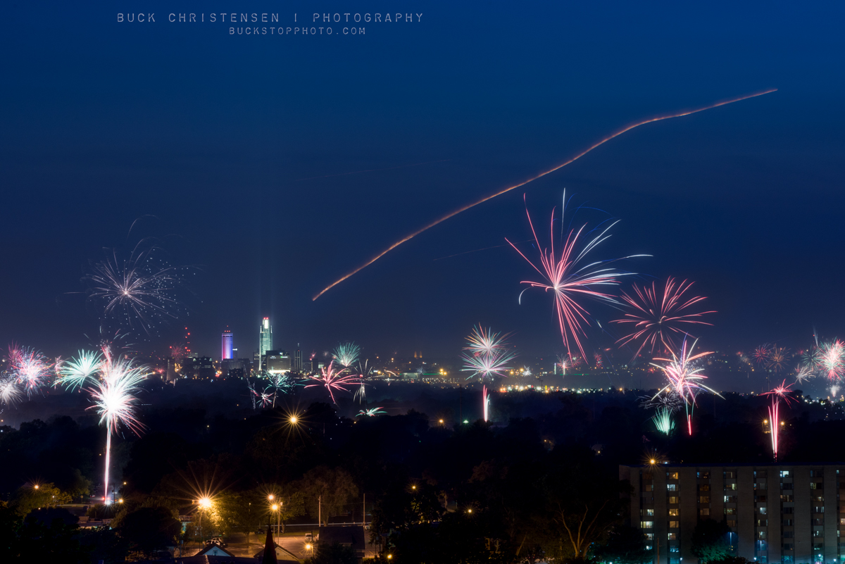 Fireworks over Council Bluffs, Iowa.