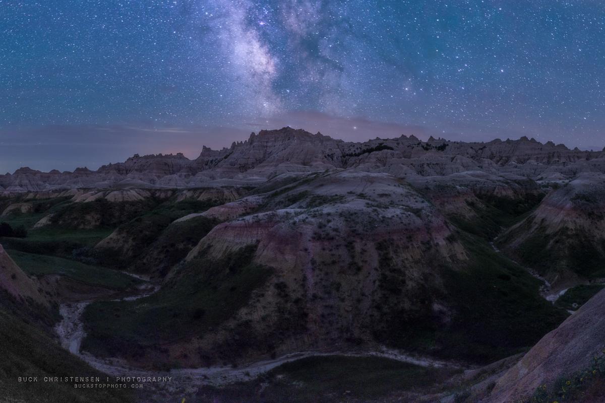 Milky Way over Yellow Mounds, Badlands National Park, South Dakota.