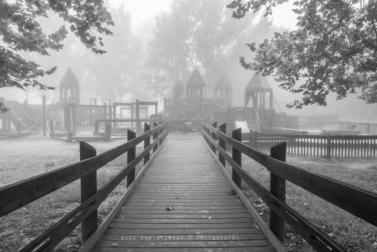 Dream Park in fog, Lake Manawa State Park, Council Bluffs, Iowa.