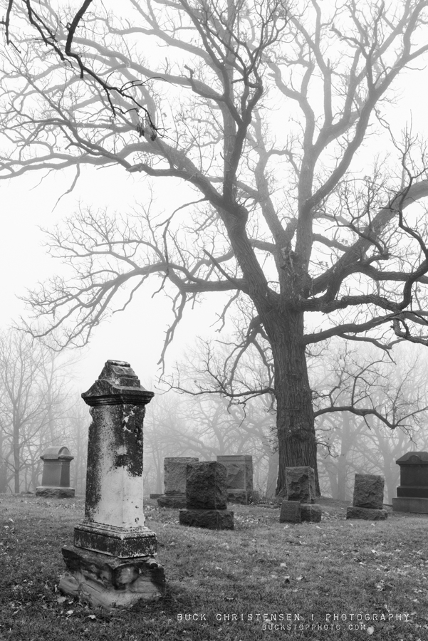 Headstones in the fog, Fairview Cemetery, Council Bluffs, Iowa.