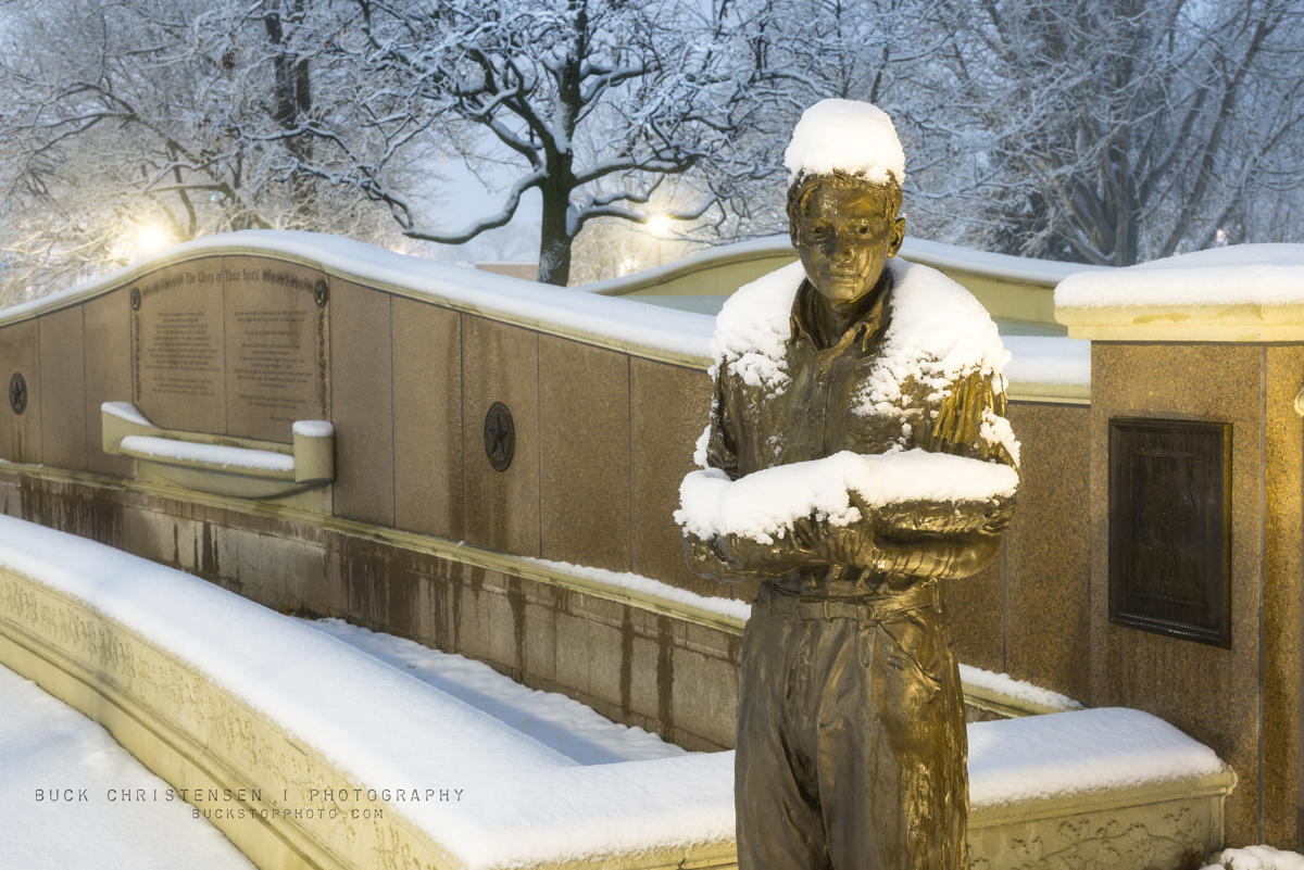 Snowy statue in winter at Veterans Plaza, Bayliss Park, Council Bluffs, Iowa.