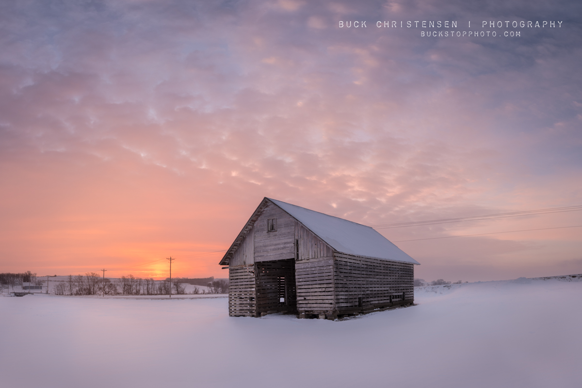 Barn (corn crib) at sunrise in winter, Rural Pottawattamie County, Iowa: Morning Glory