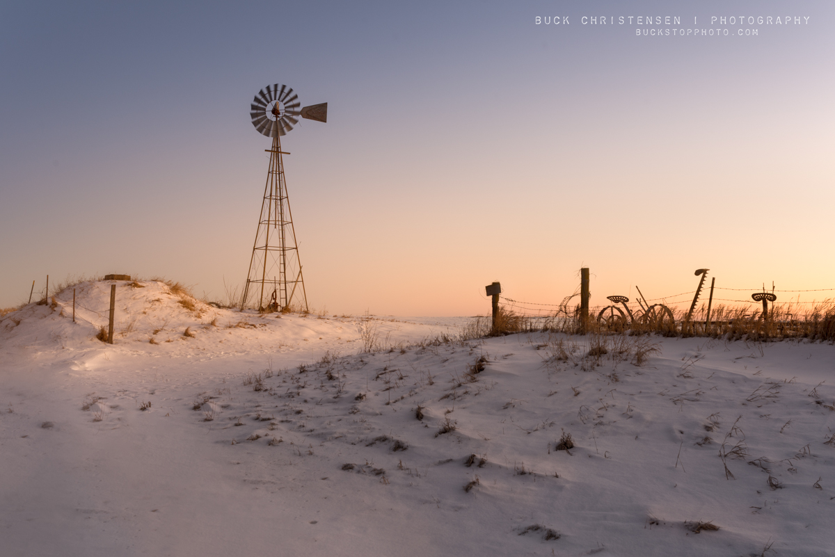Windmill in winter at sunrise, Council Bluffs, Iowa: Wind Study Number 13