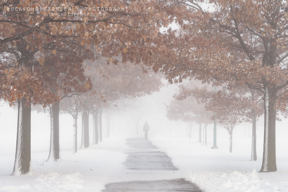 Walk path in the fog at Iowa School for the Deaf (ISD), Council Bluffs, Iowa.