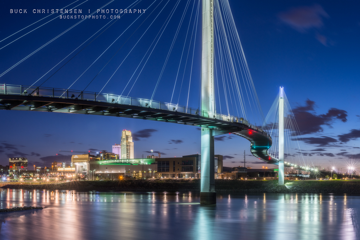 bob kerrey pedestrian bridge after sunset, omaha, nebraska