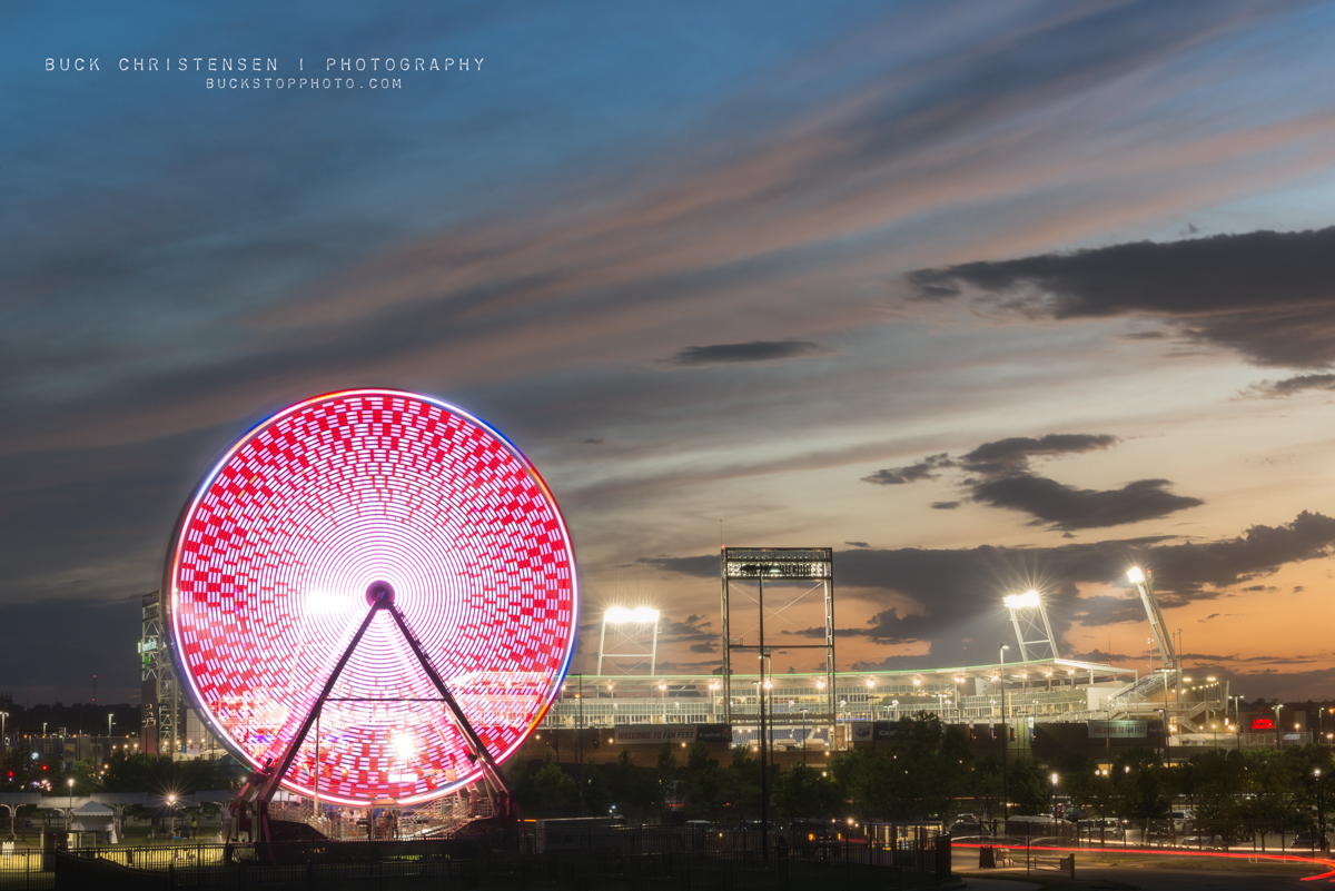 TD Ameritrade Park and ferris wheel during the College World Series (CWS), Omaha, Nebraska.