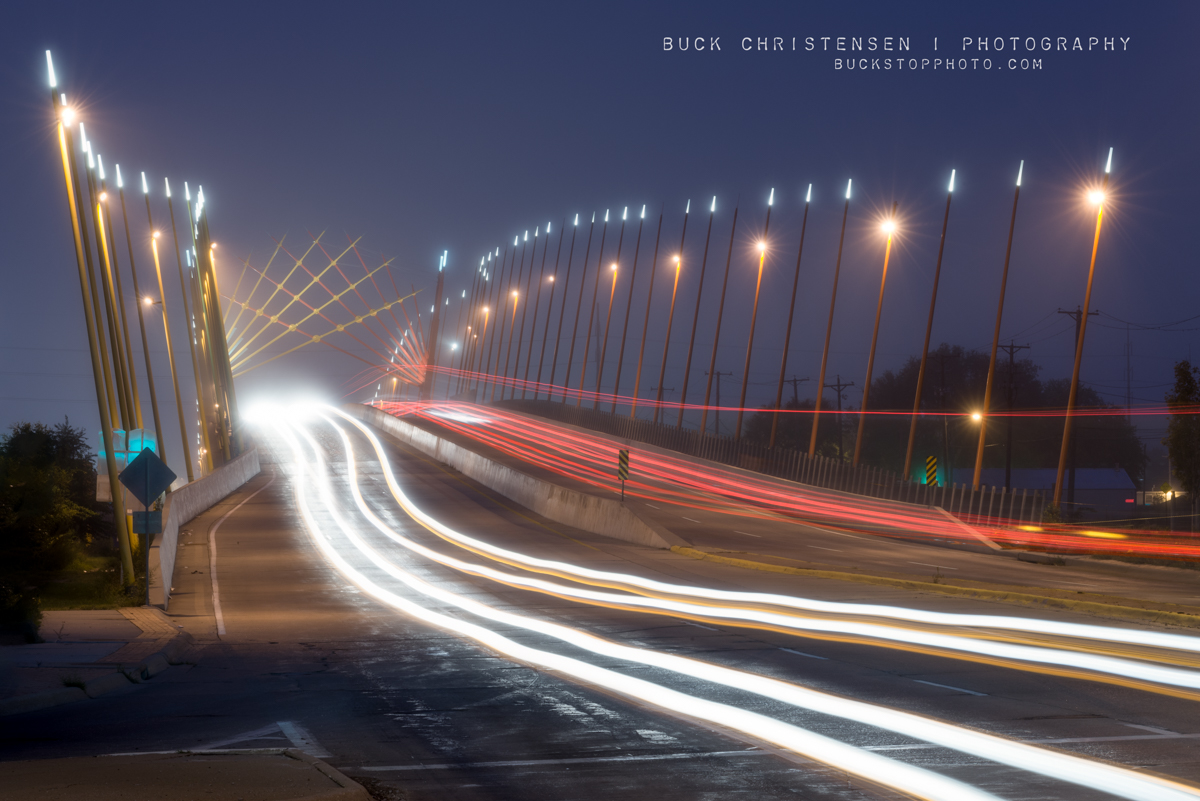 Broadway Viaduct and light trails in the fog, Council Bluffs, Iowa.