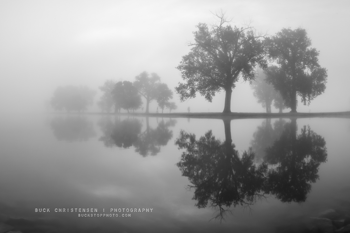 black and white photo, boy scout island in the fog, lake manawa state park, council bluffs, iowa