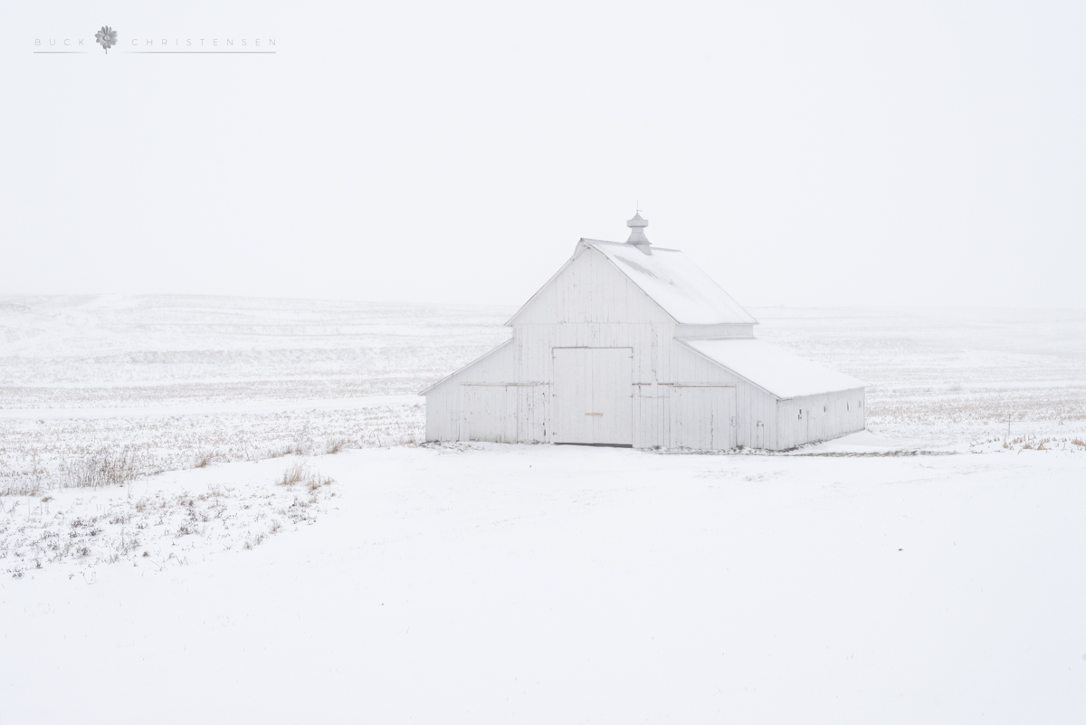 A barn in the snow in rural Pottawattamie County, Iowa.