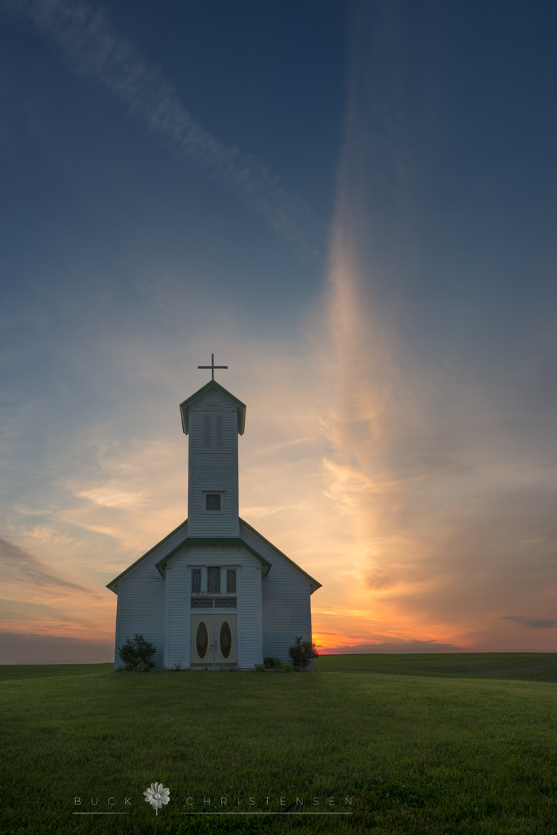 Country chapel (rural church) at sunrise in summer, Oakland, Iowa