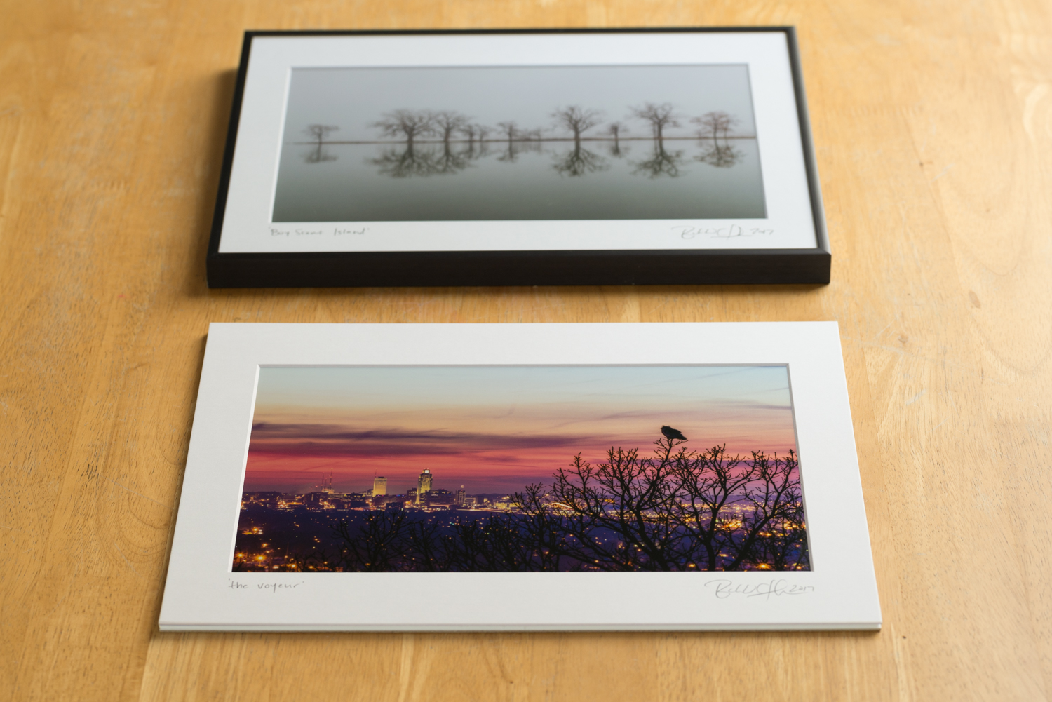 Traditional prints, 11X14, comparison of framed versus unframed. Both matted, titled, and signed.