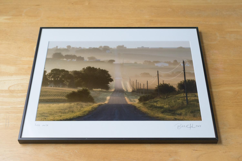 Framed traditional print, 16X20, top view, black metal nielsen frame.