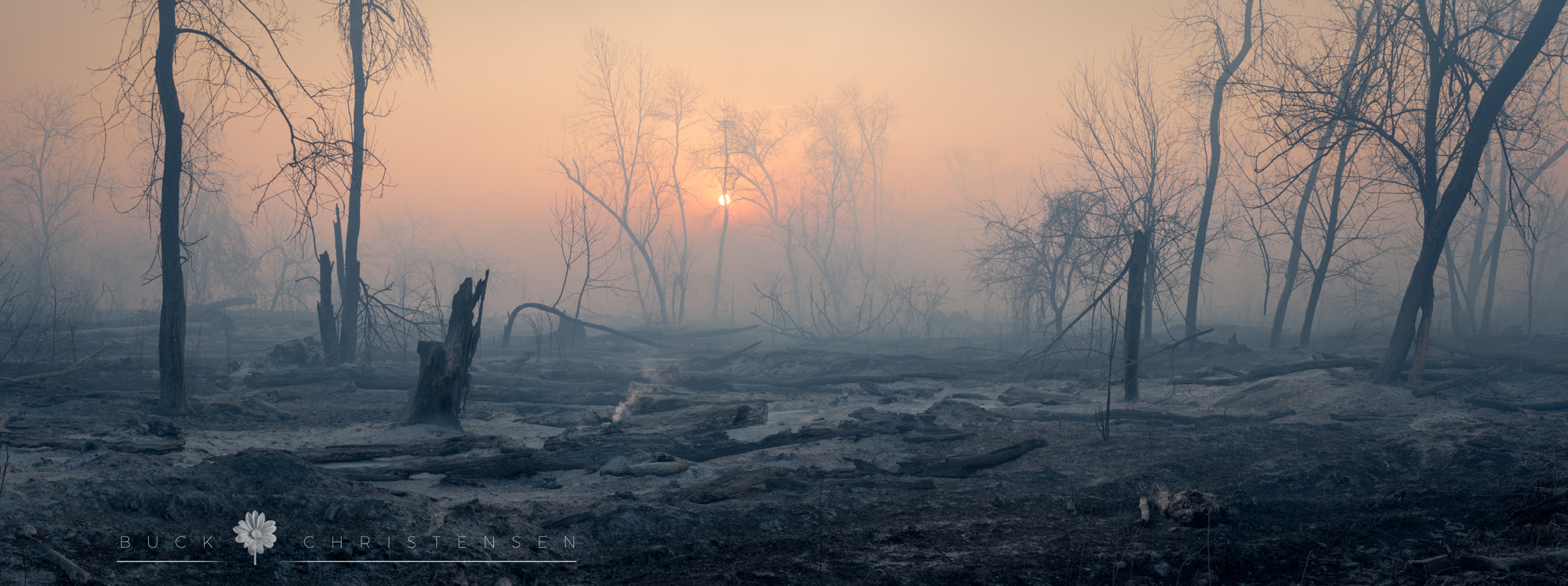 Aftermath of the April 2018 wildfire along the riverfront in Council Bluffs, Iowa, from the Western Historic Trails Center to the Veterans Memorial Bridge.