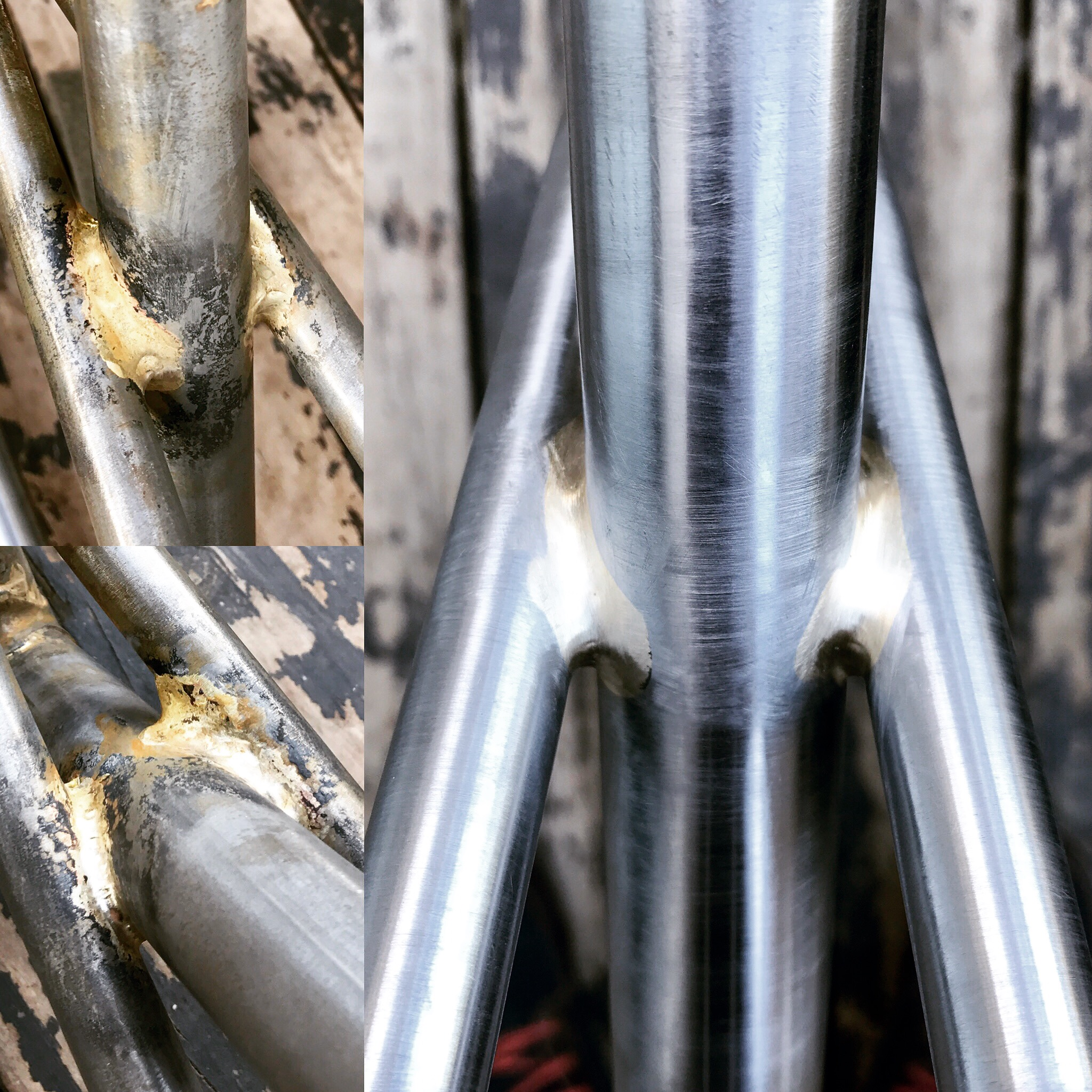 Before and after cleanup of seatstay/seattube fillet braze.