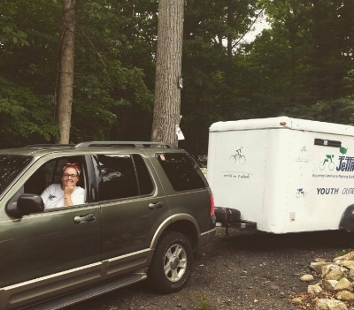 Alyssa delivering our camp trailer to CPE2016 summer. Camp Promise-East, 2016
