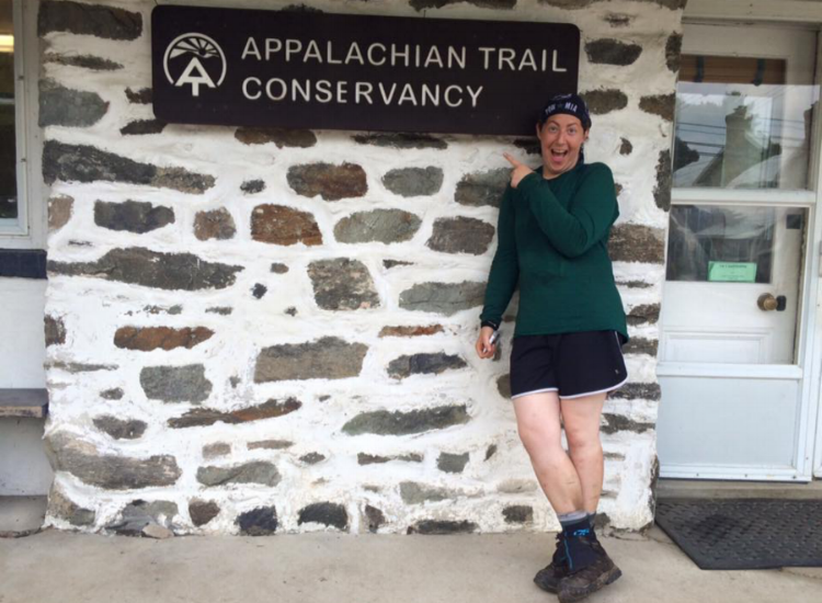 Susan Friedman at Harpers Ferry, West Virginia, after hiking 1,023 miles.