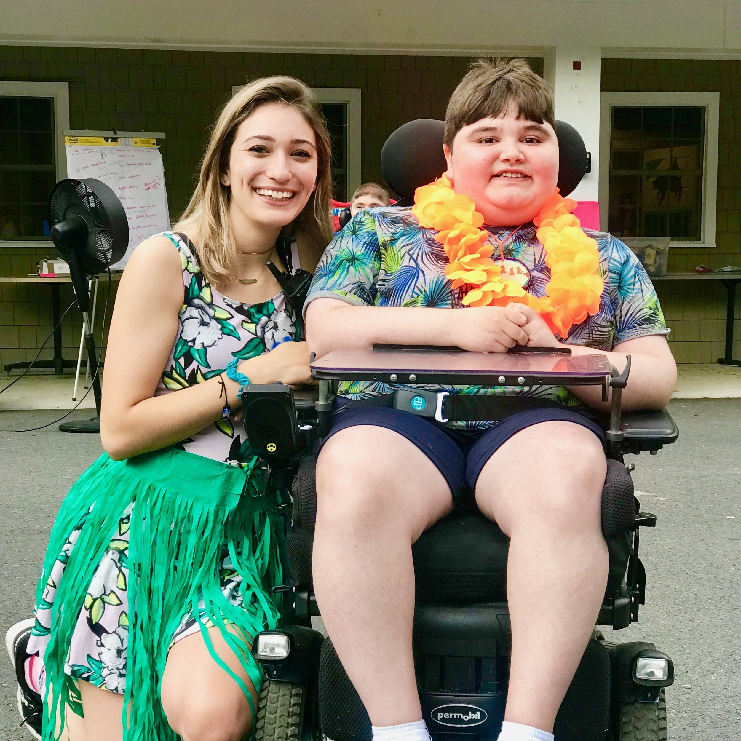 Jenna at the luau-themed dance, Camp Promise-East 2018.