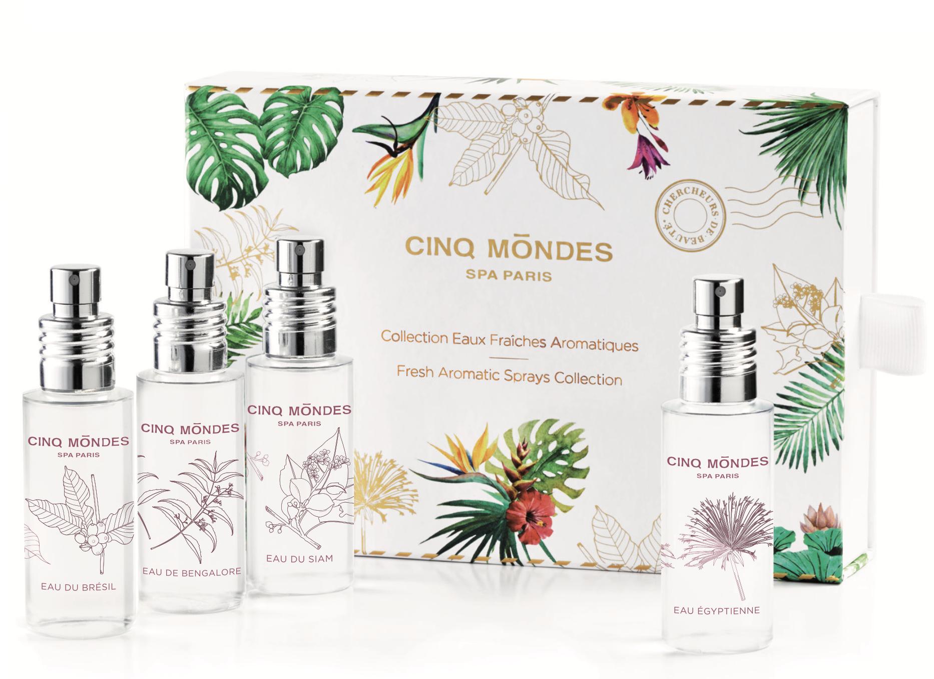 Collection eaux fraîches aromatiques – Spa des Cinq Mondes – 49 euros.