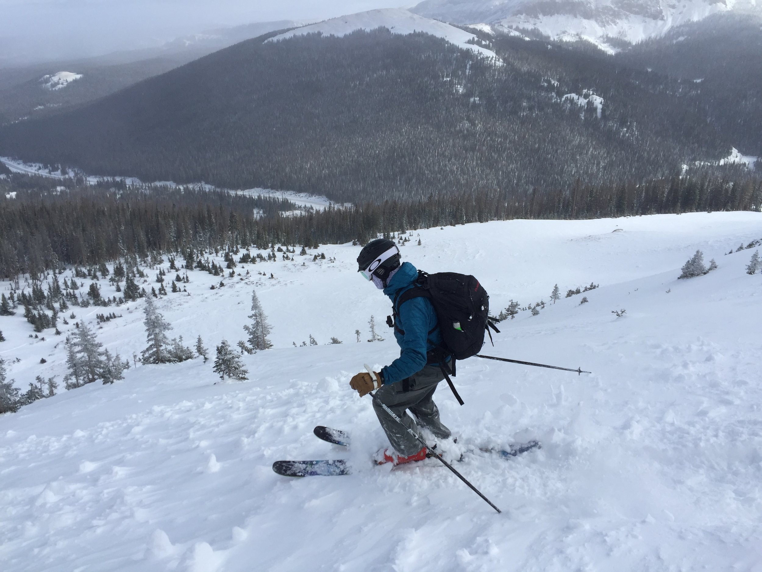 Where'd the fluffy stuff go?   Backcountry skiing at Cameron Pass, early season, December 2016