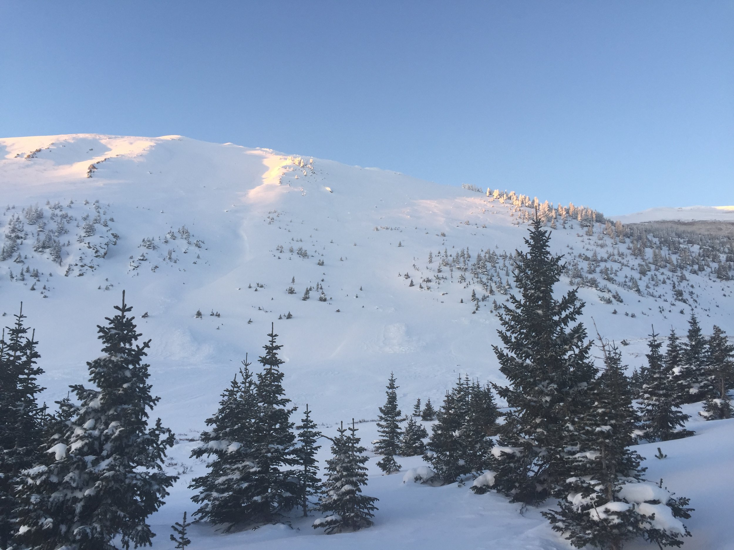 Sun coming up on South Diamond  Cameron Pass, December 2016