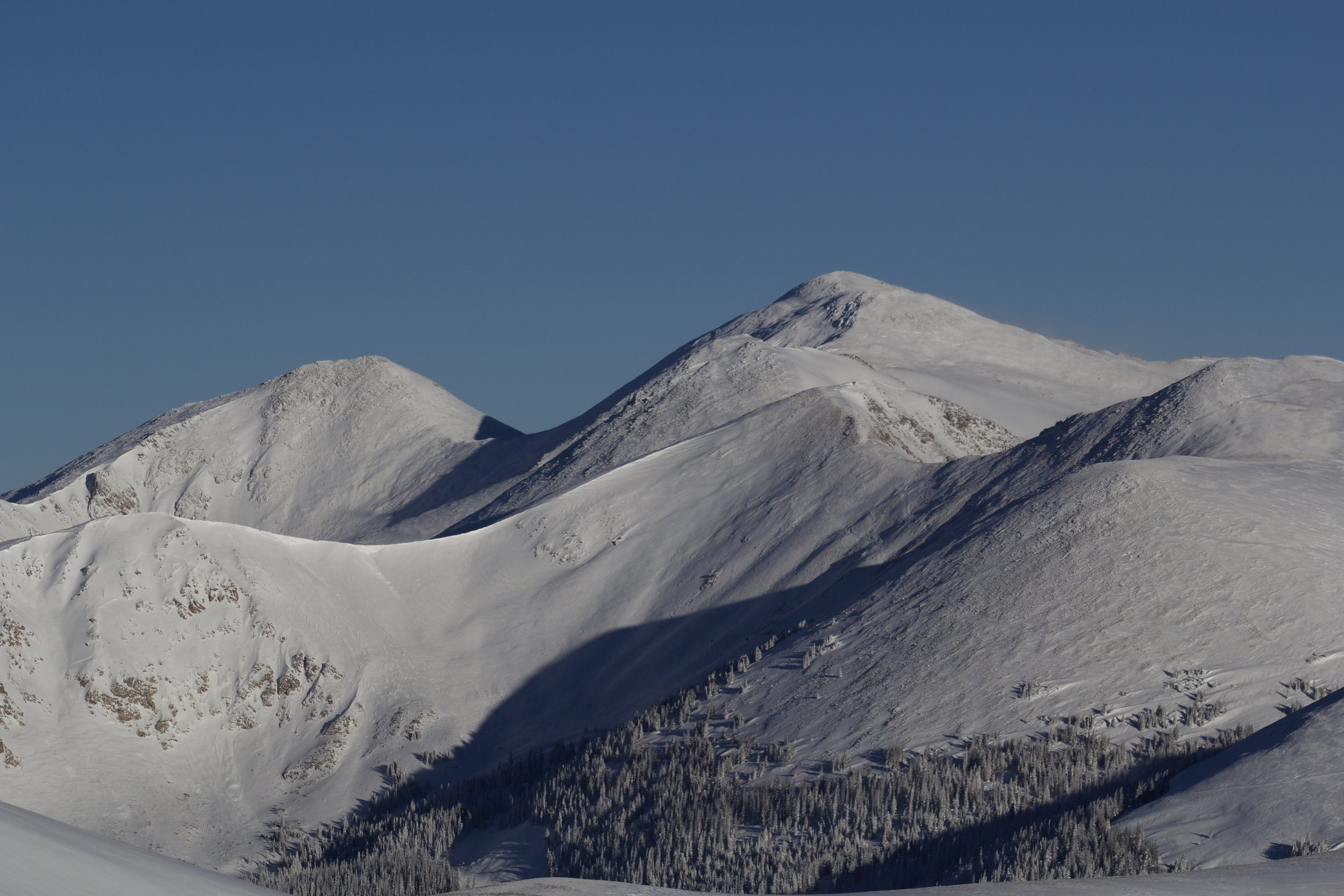 Looking North towards Clark Peak and Ruby Jewel Basin, before the wind removed all the storm snow from the west slopes