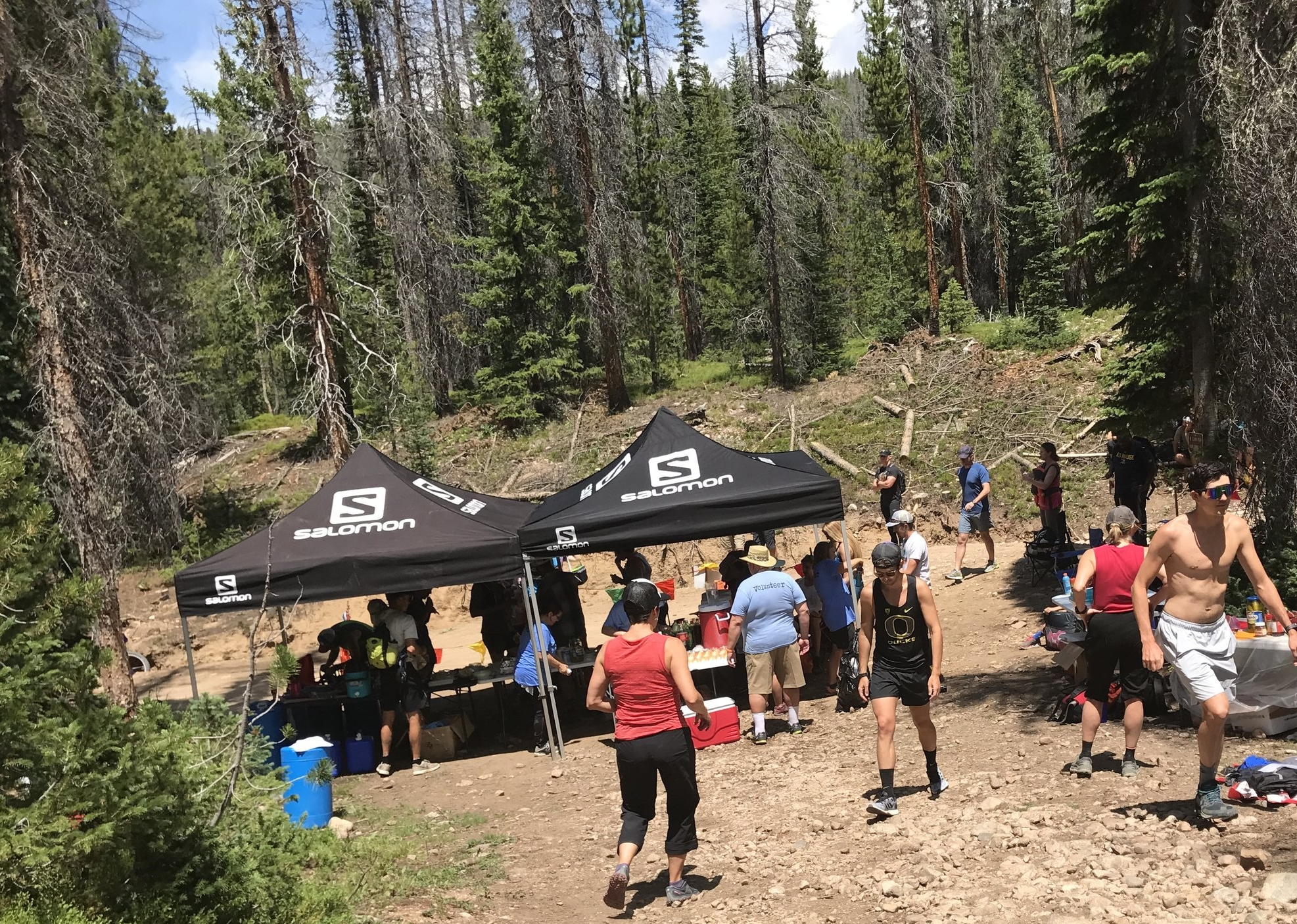 Looking down on the Ruby Jewel Aid Station at the 2017 Never Summer 100K, Gould, CO