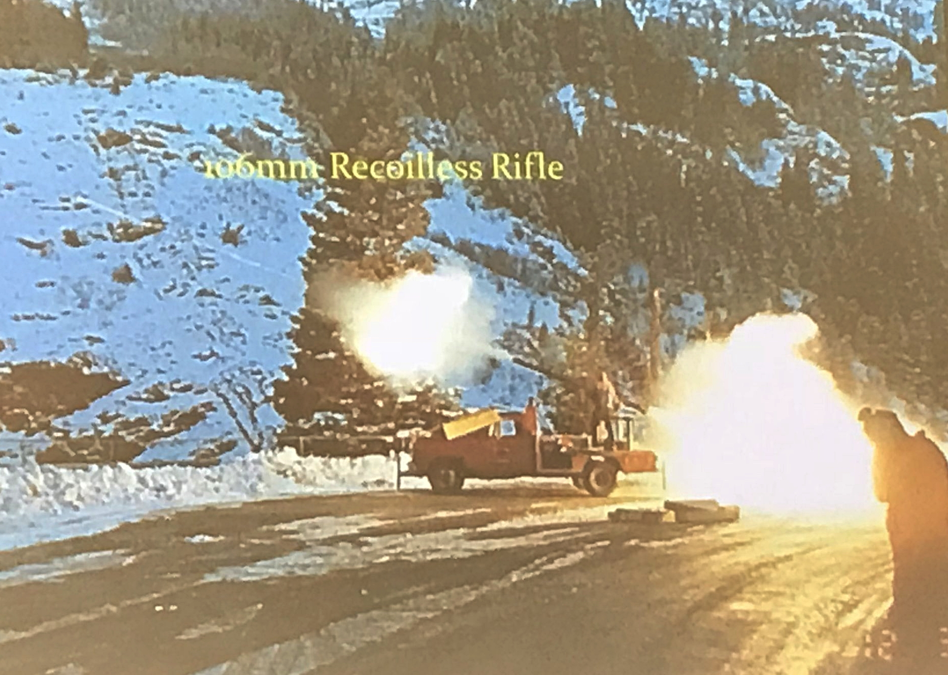 106mm Recoilless Rifle being shot - the fire out the back of the rifle was used to avoid recoil which meant it could be mounted on a truck and become portable. They also shared it's ability to destroy front windshields so they started laying a mattress on the windshield to avoid driving back with shattered glass!