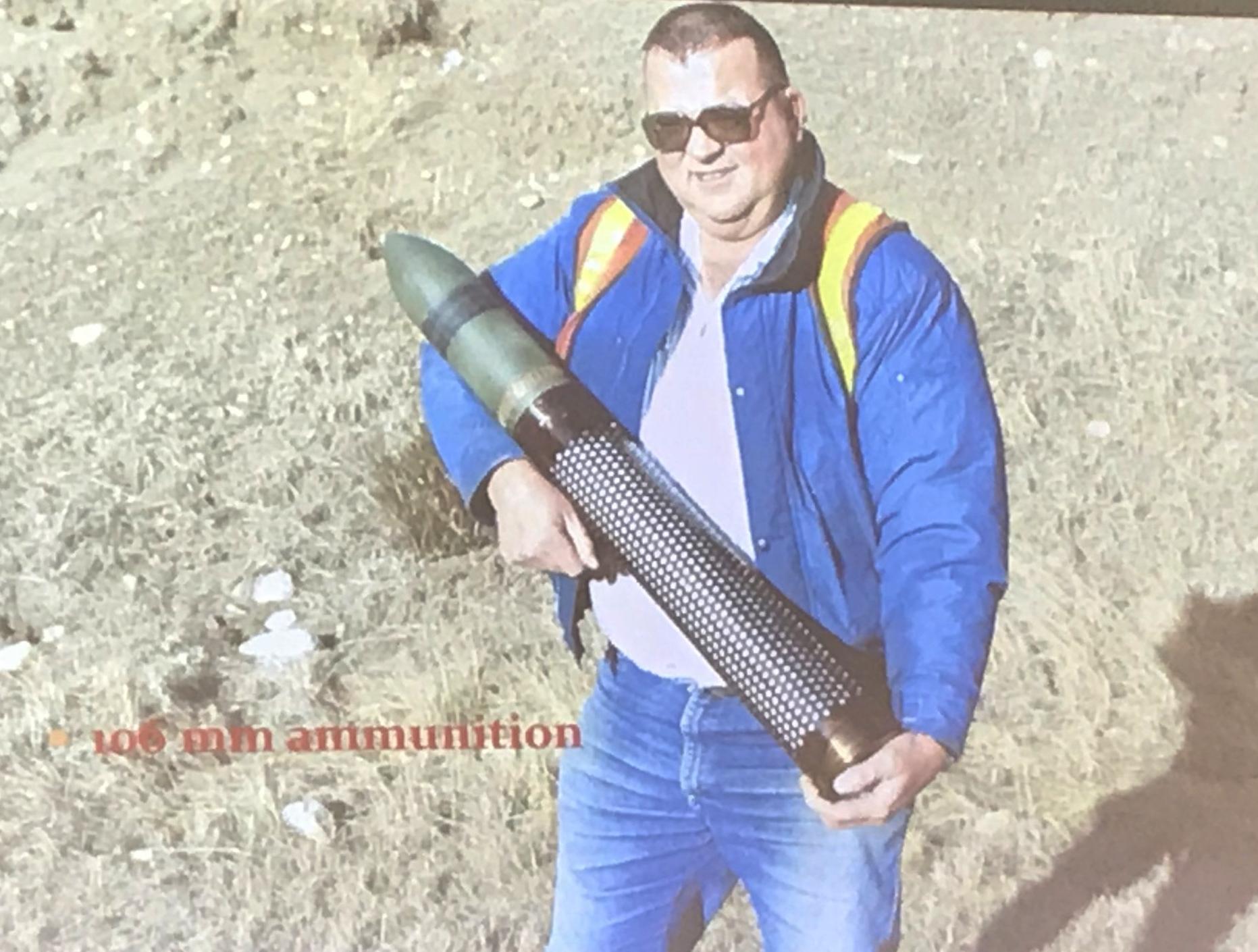 CDOT avalanche worker holding artillery