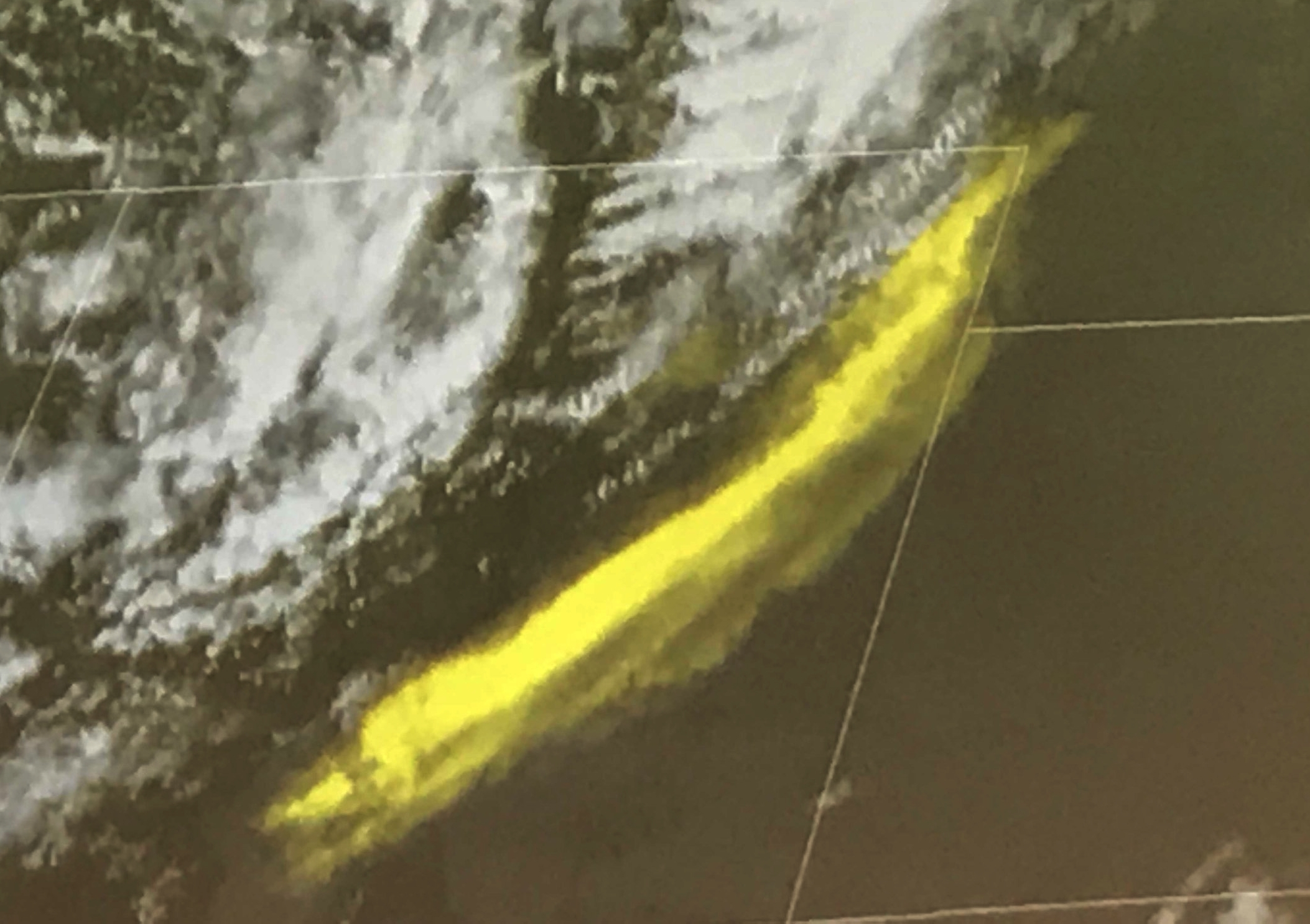 Satellite imagery where dust storm (originating from Great Sand Dunes) is being carried across Colorado. Dust is yellow while clouds are white. Previous imagery would not have been able to distinguish these.