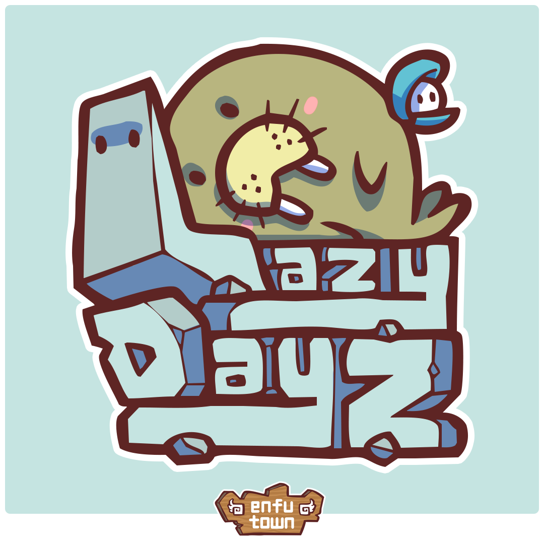 Lazy Dayz  Jooby, Pearl, and Rocky  It's hard to move when sunbathing is your job.  Jooby sunbathes to power up, and is a pro at storing energy.  Pearl's persistence in trying to motivate Jooby is met with equal resistance.  Rocky's sharp edges make for Jooby's favorite pillow.