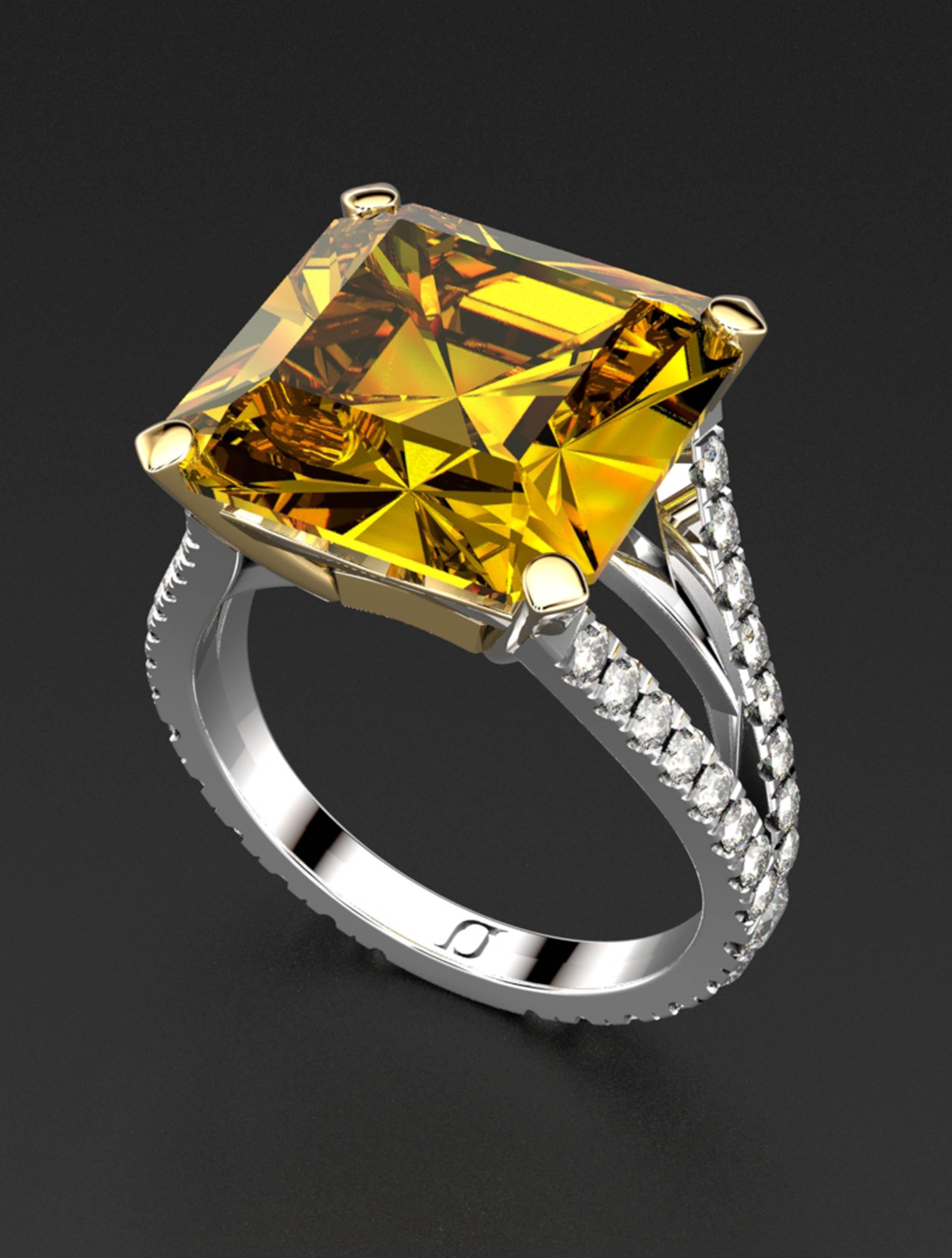 Radiant Cut Yellow Diamond Split Shank Ring