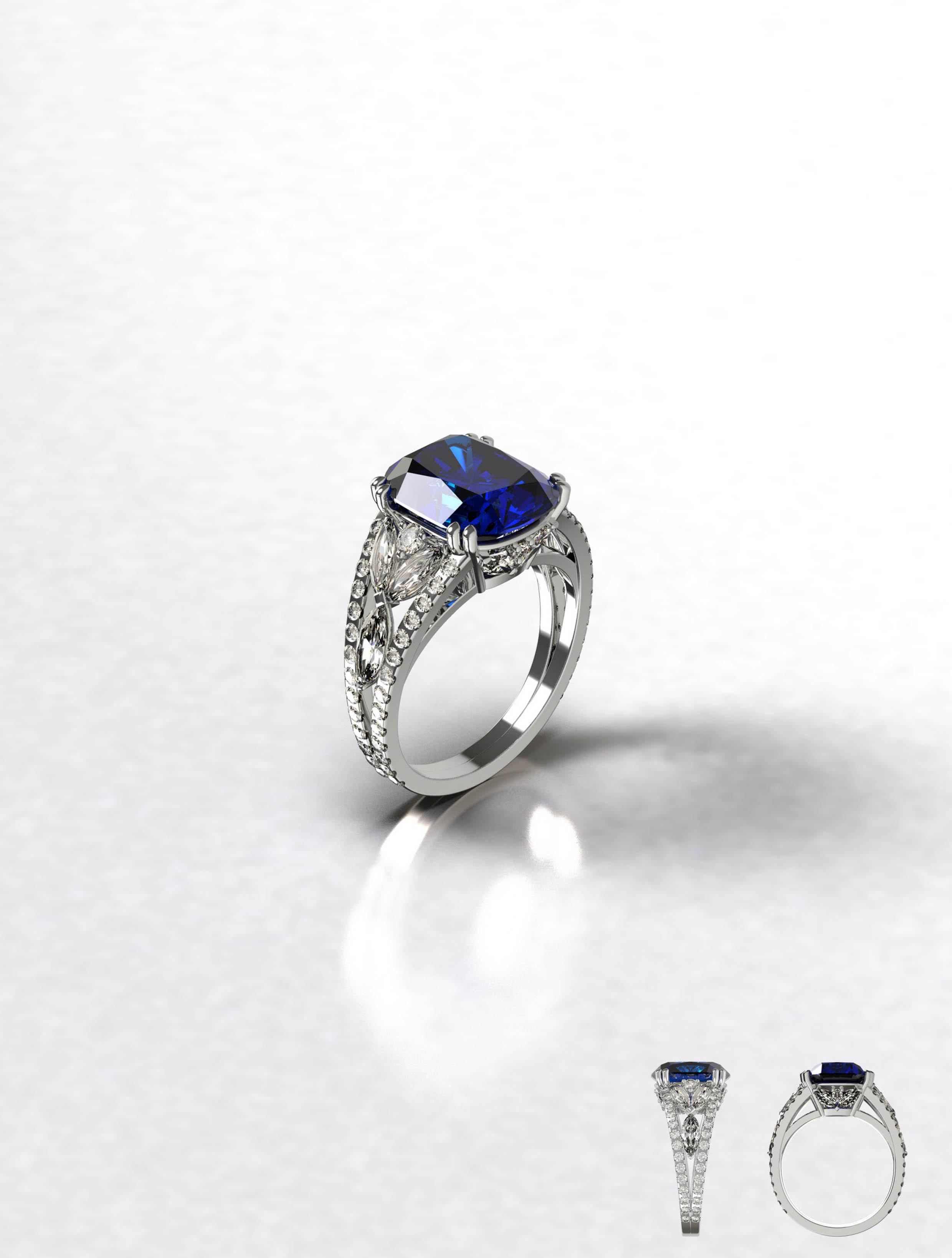 Cushion Sapphire and Diamond Ring