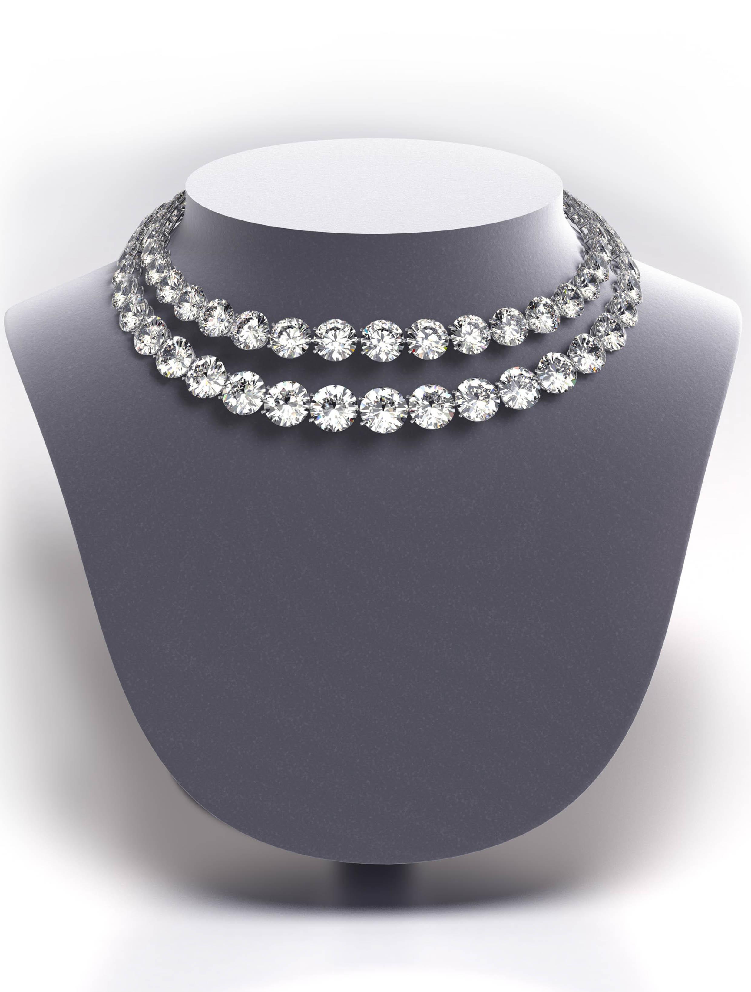 Two Row Round Diamond Necklace